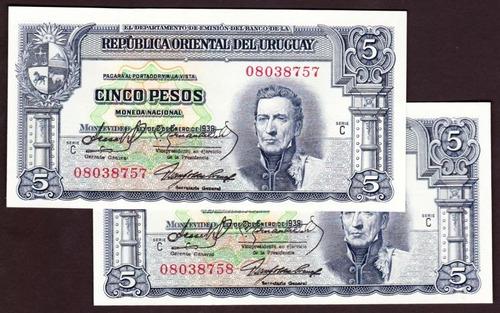 brou 5 pesos (1939) variante 10.iv.26 par correlativos s/c