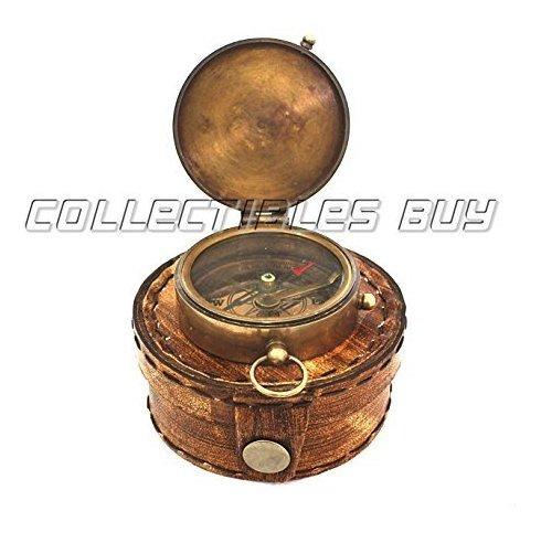 Brújula Bolsillo Coleccionables Con Caja De Cuero-Regalo de brújula bolsillo de latón Náutica