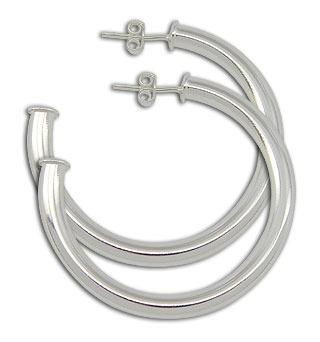 bs2379 p - brinco de argola tubular liso folheado a prata