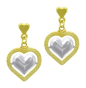 bs2395 - brinco folheado a ouro em  forma de coração