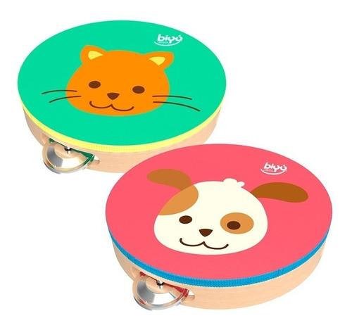 bu-8189 pandero infantil madera perro o gatito 1 pieza biyu
