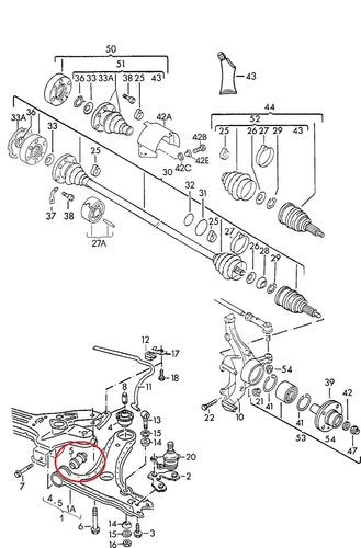 bucha bandeja dianteira audi a3 1.8 turbo 150cv 1996 a 2003