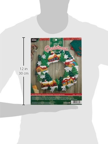 bucilla felt applique wreath kit, 16 por 16 pulgadas,  snow