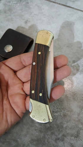 buck 110 folding hunter navaja madera ebano funda scharade