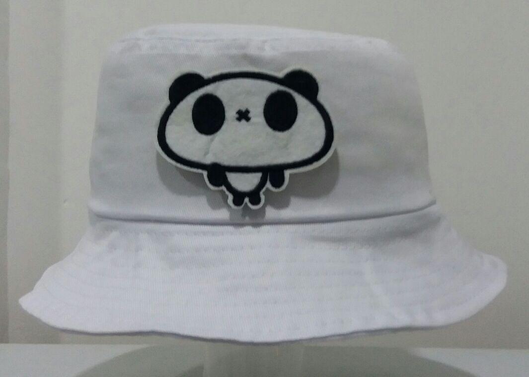 Bucket hat branco urso panda tumblr instagram swag rap skate carregando zoom  jpg 1065x760 Rapper hat 20476c9d864