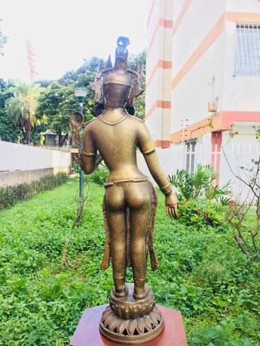 buda diosa escultura antigua de bronce perfecta