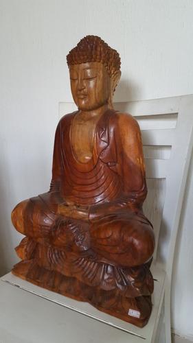 buda em meditação escultura madeira 60 cm