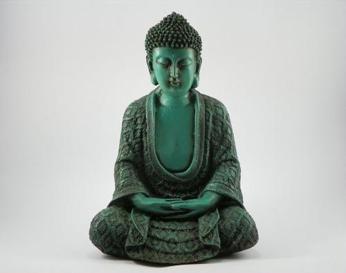 buda hindu meditação verde envelhecido betumado resina