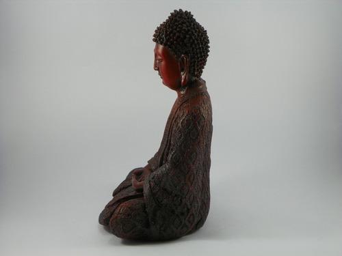 buda hindu meditação vermelho envelhecido betumado resina