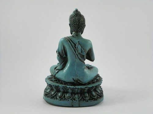buda hindu na flor de lotus azul betumado resina