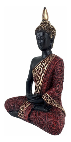 buda hindu tailandês tibetano sidarta resina vermelho 20cm.