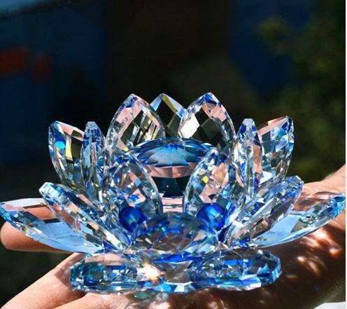 Budista Cristal Vidrio Flor De Loto Feng Shui 8 Cm 15990 En