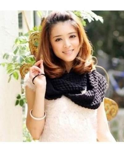 bufanda circular larga tejida con excelente diseo blanca