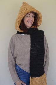 código promocional affe0 51f4f Bufanda Crochet/capucha Lana/tejidos Artesanales/camel/negro