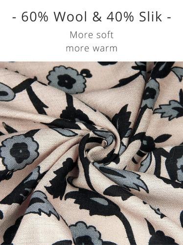 bufanda de cachemira de lana y seda cara escudo para dama