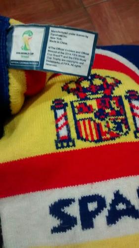 bufanda de españa, mundial brasil 2014, original fifa