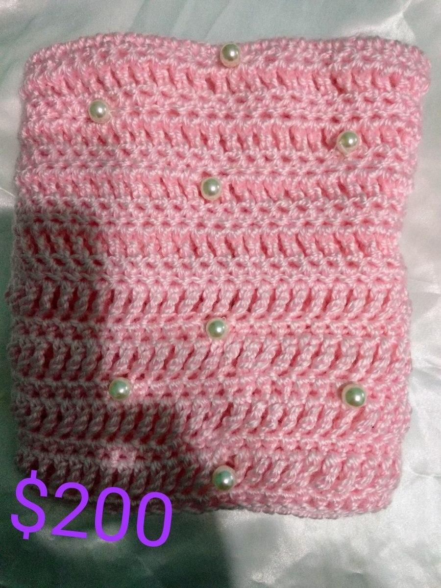 Bufanda De Lana Con Perlas Tejida A Crochet - $ 200,00 en Mercado Libre