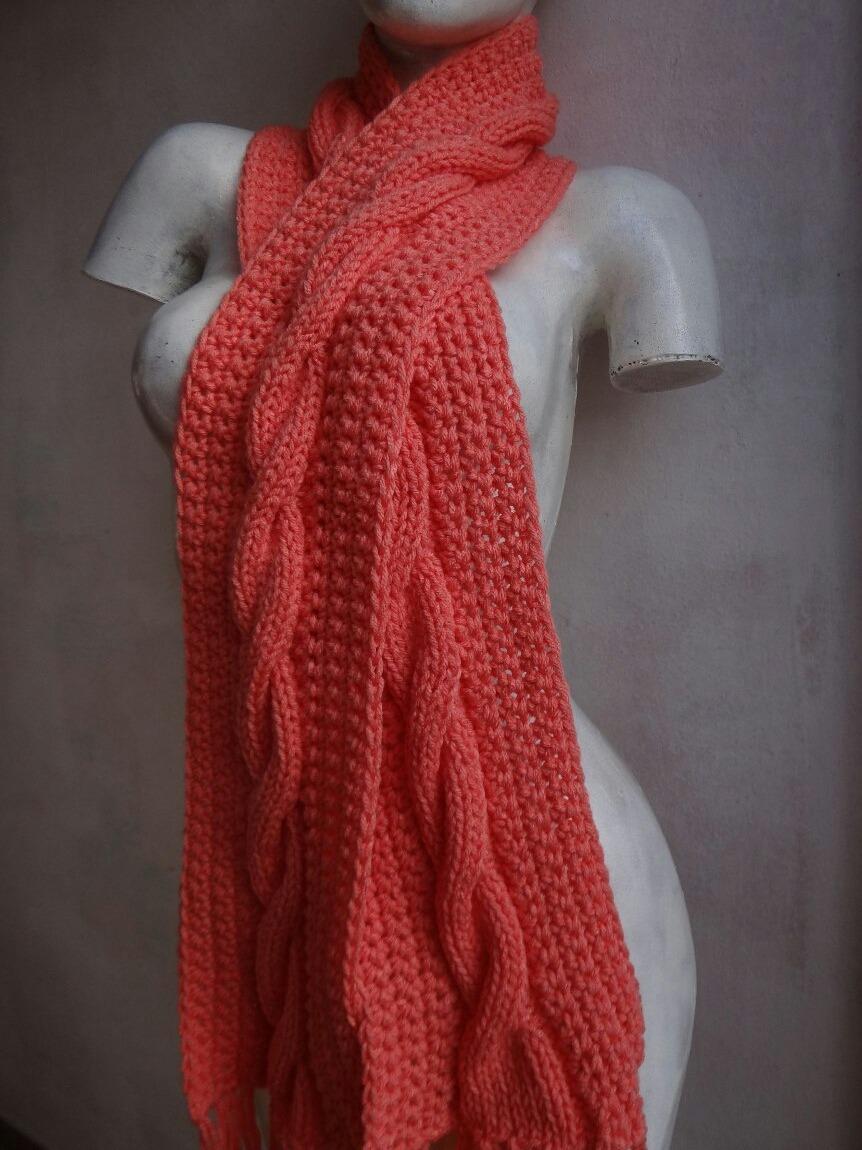 Para estrenar elegante en estilo color rápido Bufanda De Lana Tejida Al Crochet Y Dos Agujas Artesanal