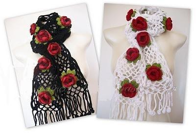 bufanda floral crochet