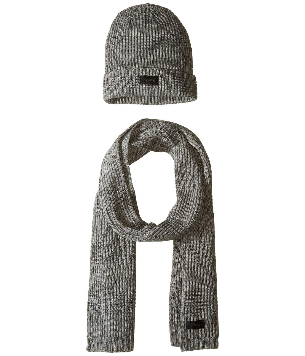 985921e3cc01 Bufanda Hombre Calvin Klein Thermal Stitch Hat And Scarf Set - S ...
