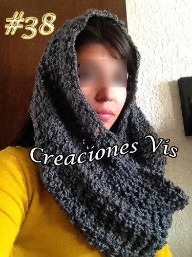 bufanda infinita tubular crochet tejida a mano varios colore