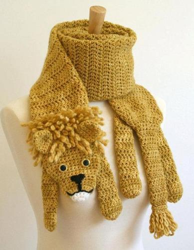 Bufanda León Tejida A Crochet