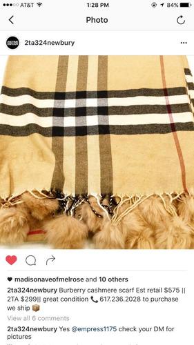 bufanda manta cudros burberry camel pompones
