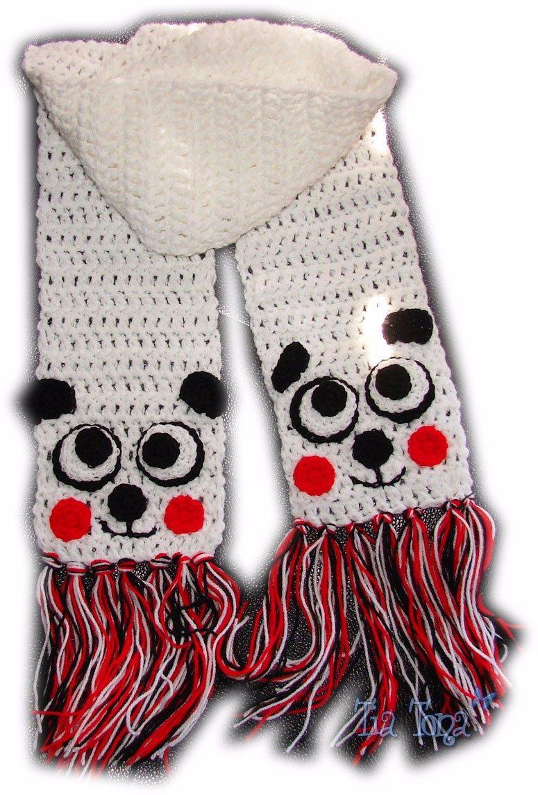 A Pedido Bufanda Panda Tejida Crochet Para Niños