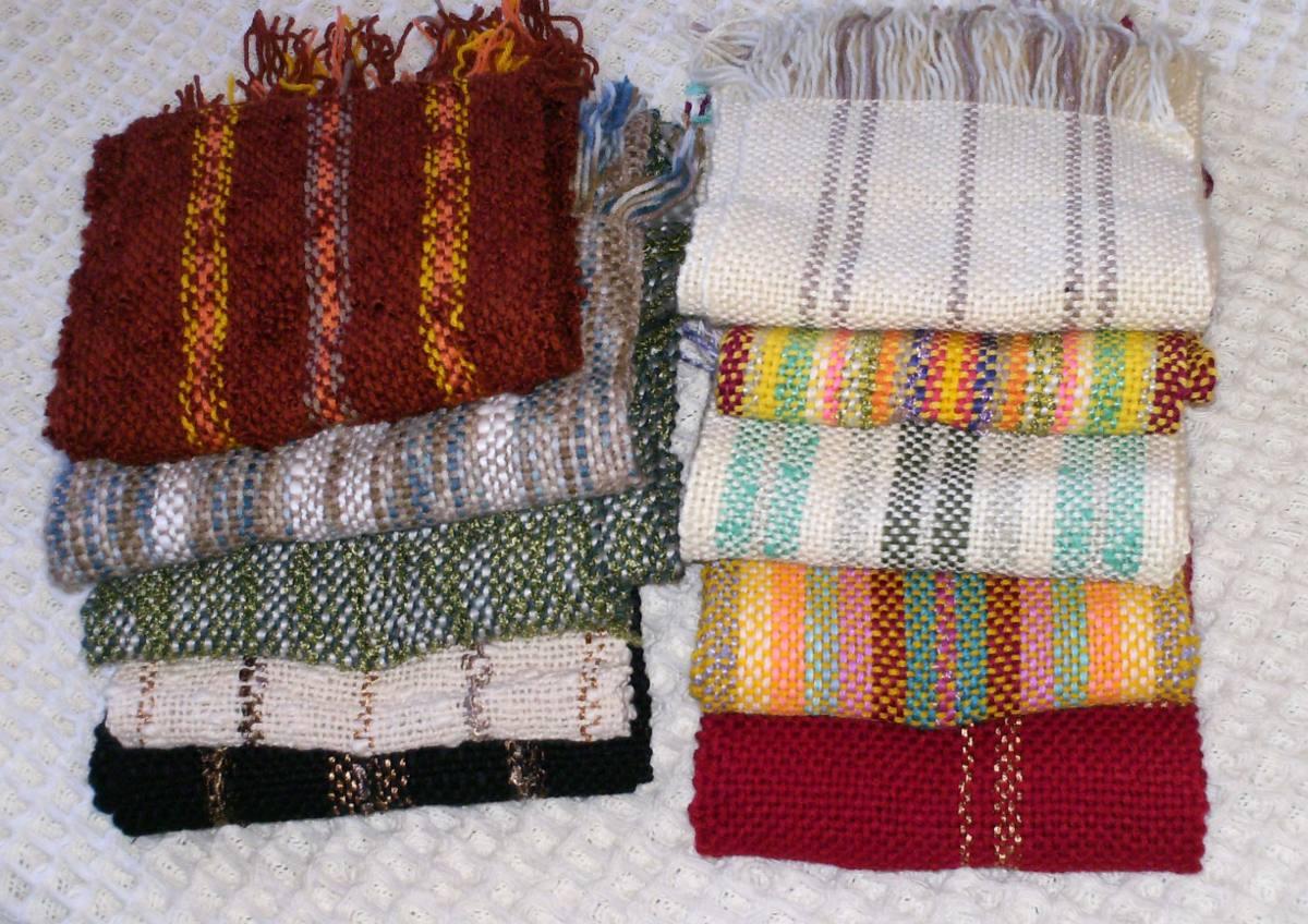 bufanda tejida en telar artesanal mujer hombre tonos azules