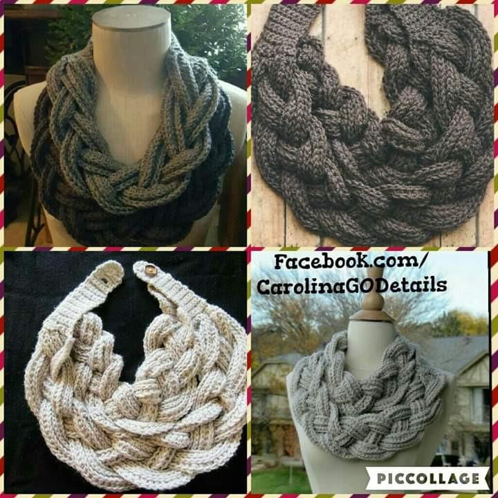 Bufanda Trenzada Tejida A Crochet -   450.00 en Mercado Libre 3255b6e5c26