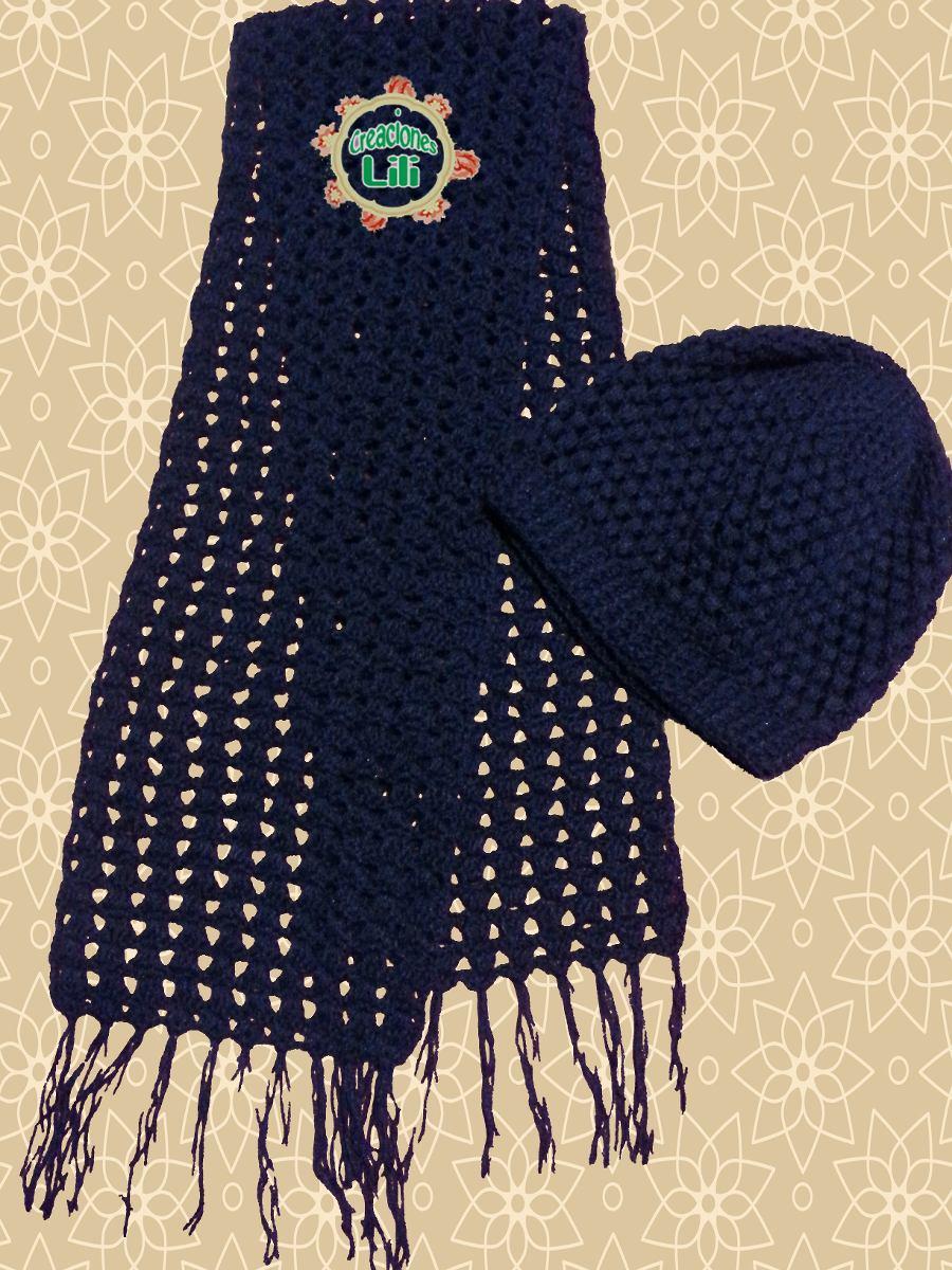 bufanda y gorro artesanal tejido a crochet para niñas, niños
