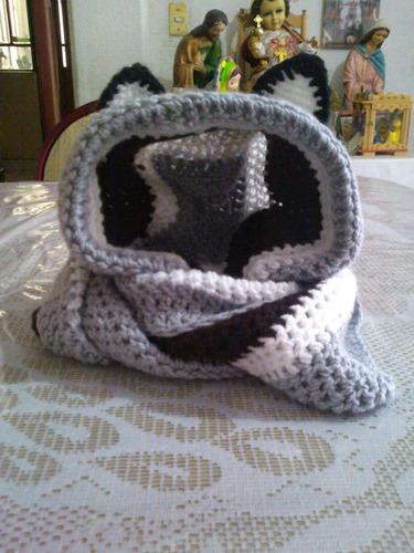 bufandas con capucha c/s orejitas y gorros tejidos a mano