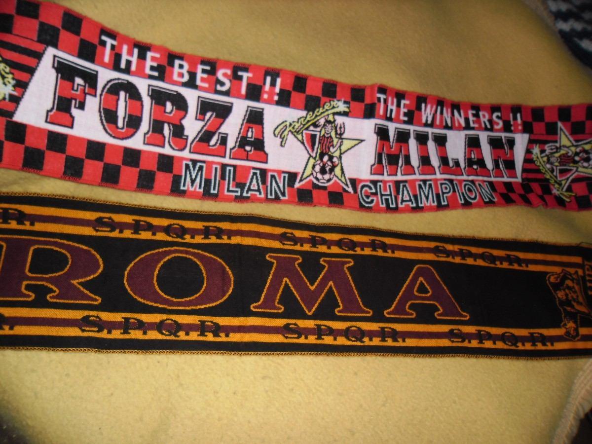 bufandas futbol italiano roma y milan