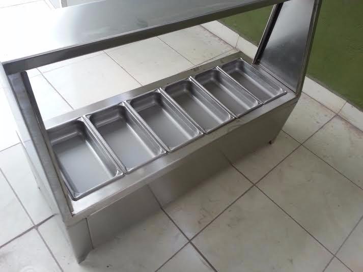 Bufetera mesa caliente ba o maria de acero inoxidable for Muebles para bano acero inoxidable