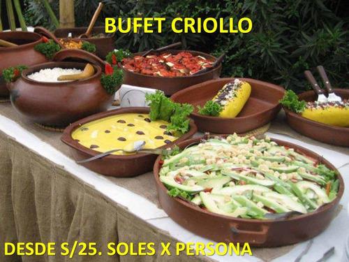 bufets criollos,catering,bar,dj +mesa bufet y pileta  gratis