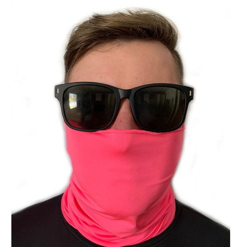 buff bandana pesca ciclismo proteção uv50 cor rosa neon