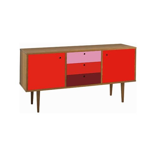 buffet com gavetas vintage vermelho, rosa e bordô