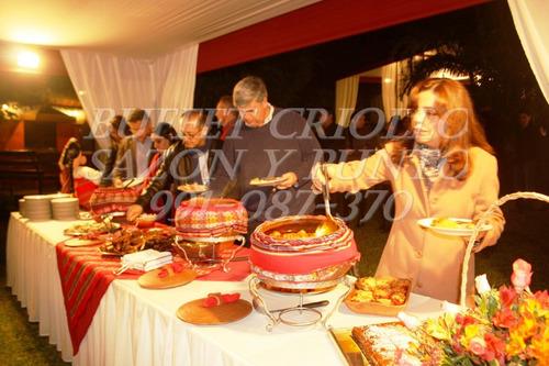 buffet criollo, gourmet y bocaditos a domicilio