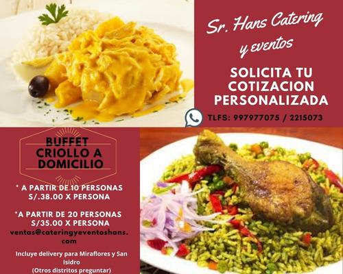 buffet criollo y platos a la carta a domicilio