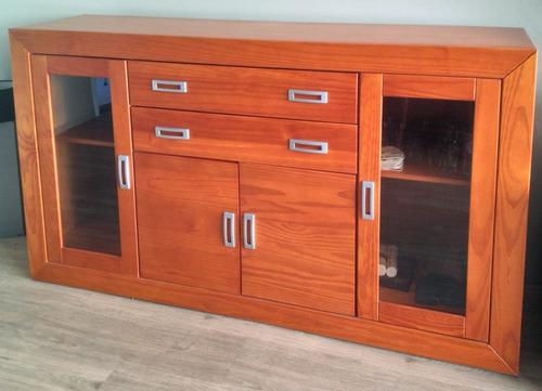 buffet de madeira maciça vidro quatro portas duas gavetas