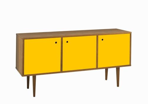 buffet vintage com 3 portas na cor amarelo