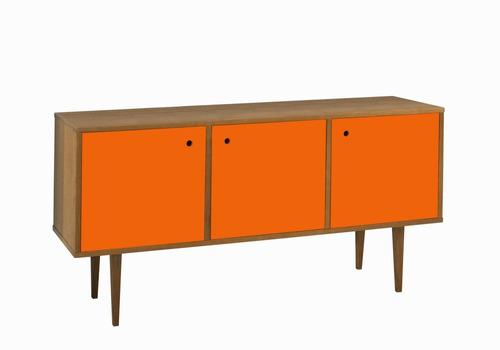 buffet vintage com 3 portas na cor laranja