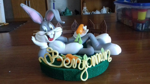 bugs bunny en porcelana fría para torta
