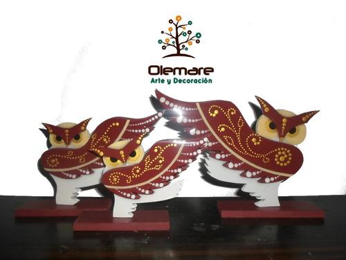 búhos decorativos mdf con acabado de vidrio feng shui