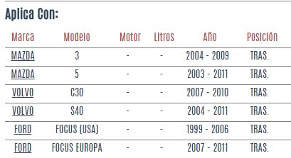 buje de eje trasero mazda 5 2003 - 2011 vzl