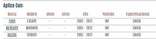 buje de horquilla inferior ford escape 2001 - 2012 vzl