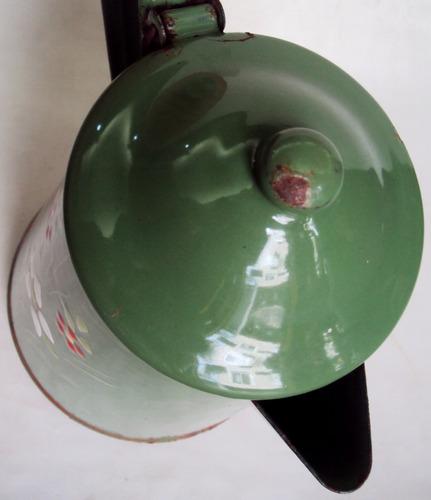 bule grande verde antigo louça ágata ferro esmaltado flores