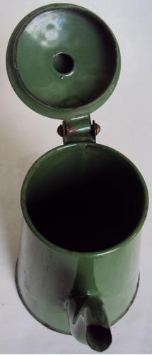 bule verde antigo médio em louça ágata ou ferro esmaltado