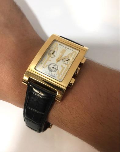bulgari rettangolo de ouro amarelo chronograph , completo !!