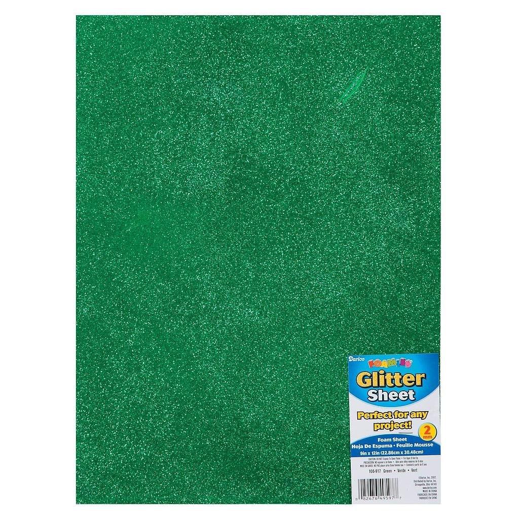 Bulk Buy: Darice Foamies Glitter Foam Sheet Green 2mm Thick
